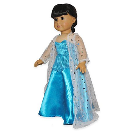 Doll Dress - Queen Elsa Inspired Outfit Fits American Girl Doll, My Life Doll, Our Generation And 18 Inch Dolls - image 1 of 4
