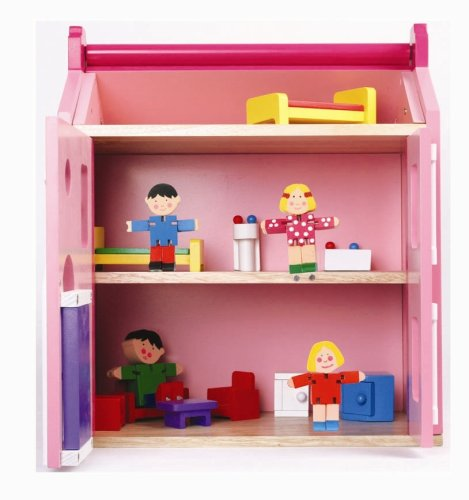 Medium Doll house w\/furniture and Flexi Family
