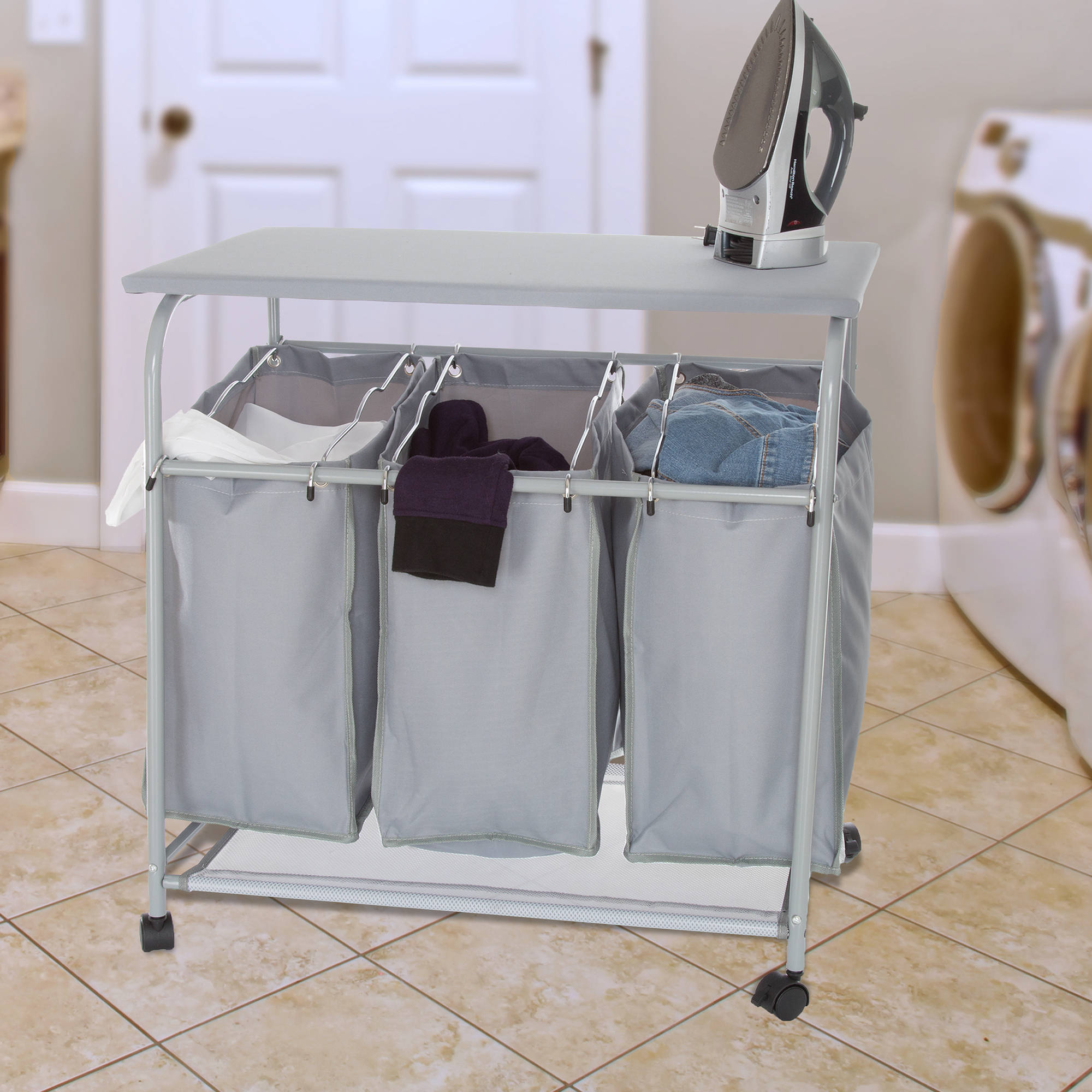 Lavish Home Rolling 3 Bin Laundry Sorter and Ironing Station, Grey
