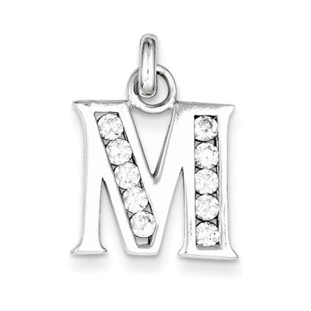 Sterling Silver White CZ Initial M Pendant