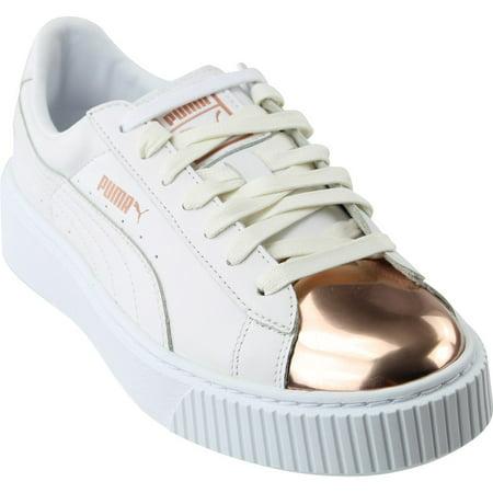 big sale 1e595 479b0 puma basket platform metallic women's shoes black/rose gold 366169-02 (7.5  b(m) us)