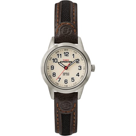 Women's Expedition Metal Field Mini Watch, Brown Nylon/Leather Strap