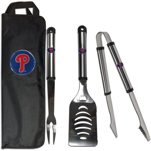 MLB 3-Piece BBQ Set with Canvas Case, Philadelphia Phillies