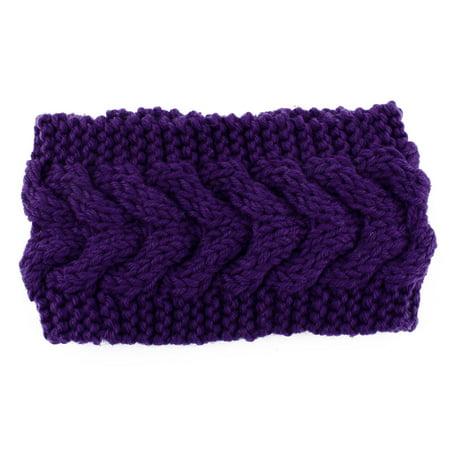 Lady Plain knitted Head Wrap Hair Ornament Sports Skiing Headband Purple