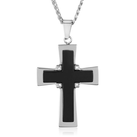 - Black Onyx and Stainless Steel Cross Pendant