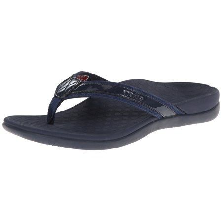 5081be48e8e0 Vionic by Orthaheel Tide II Navy Leather   Mesh Thong Sandals