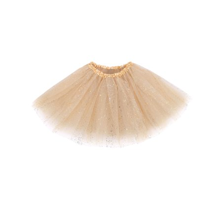 Women's Classic Triple Layered Tulle Tutu Skirt w/ Sparkling Sequin,Golden - Silver Tutus