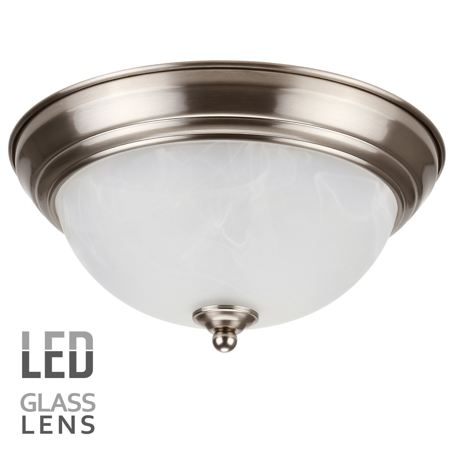 LEONLITE Dimmable 11-Inch LED Flush Mount Ceiling Light Fixture, Alabaster Glass Shade, 15W (80W Equivalent), 3000K Warm White, ETL Listed, 5 YEARS WARRANTY, Satin Nickel