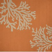 Creamy Orange and Coral White Grant Bough Out Square  6' x 6 'Outdoor Area Throw Rug
