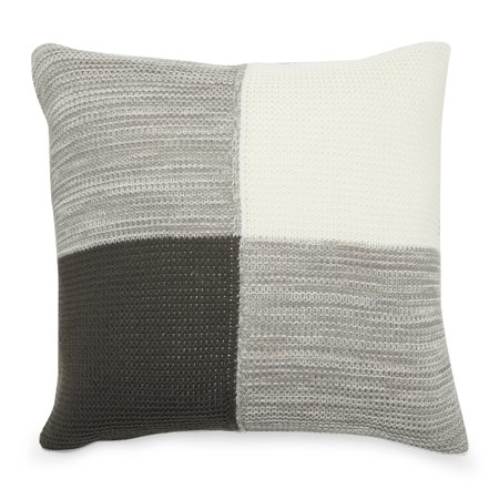 MoDRN Industrial Colorblock Knit Decorative Throw Pillow, 20