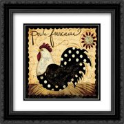 Polka Rooster 2x Matted 20x20 Black Ornate Framed Art Print by DiPaolo, Dan