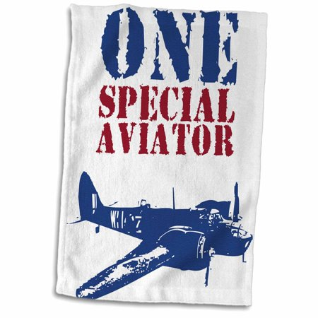 3dRose Grunge Blue Fighter Plane With The Words One Special Aviator - Towel, 15 by 22-inch