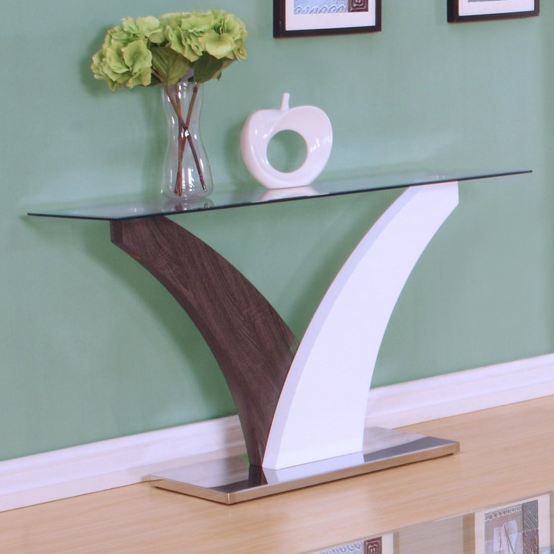 ACME Forest Sofa Table, Clear Glass, White & Walnut by Acme Furniture