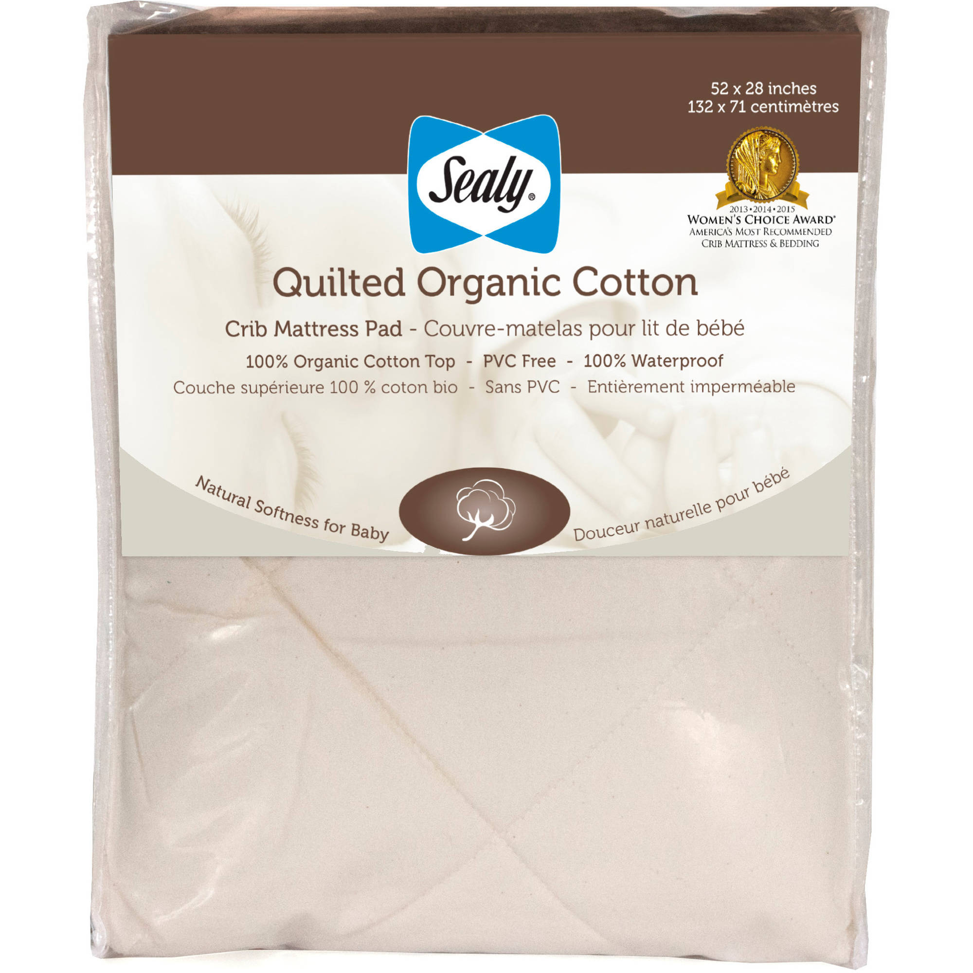 Sealy Quilted Organic Cotton Crib Mattress Pad
