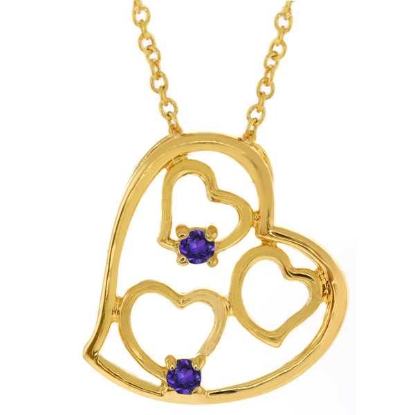 """Gold Plated Brass Multi Heart Shape Purple Cubic Zirconia CZ Pendant with 18"""" Chain"""