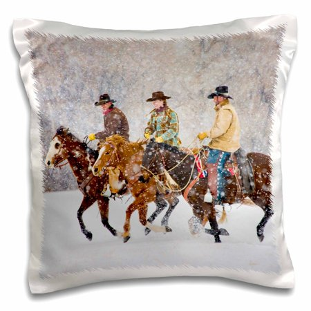 Rodeo Cowgirl Pillow - 3dRose USA, Wyoming, Shell, Cowboys and Cowgirl in snow - US51 TEG0017 - Terry Eggers, Pillow Case, 16 by 16-inch