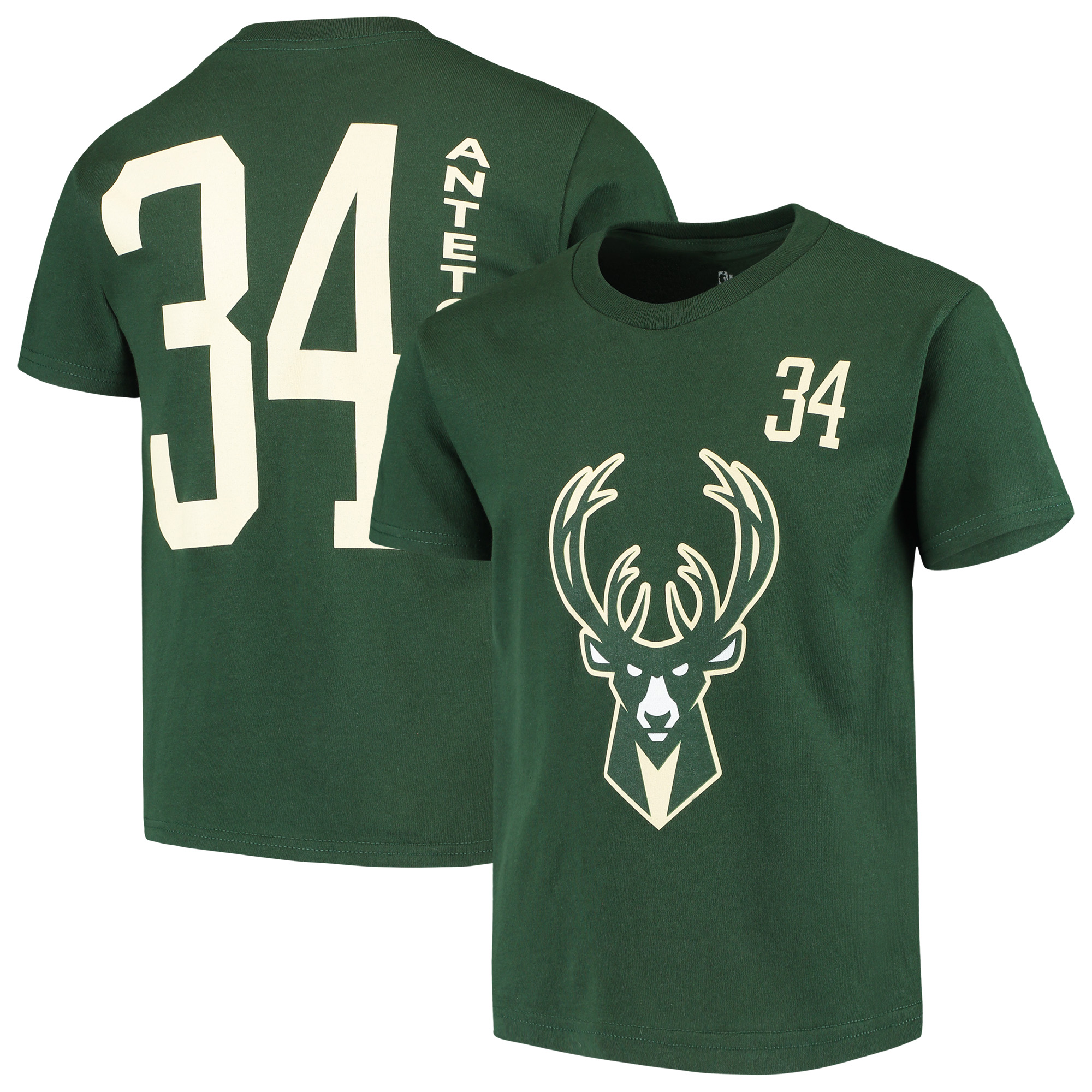 best service bb96f 9bc15 Giannis Antetokounmpo Milwaukee Bucks Youth Name & Number T-Shirt - Hunter  Green