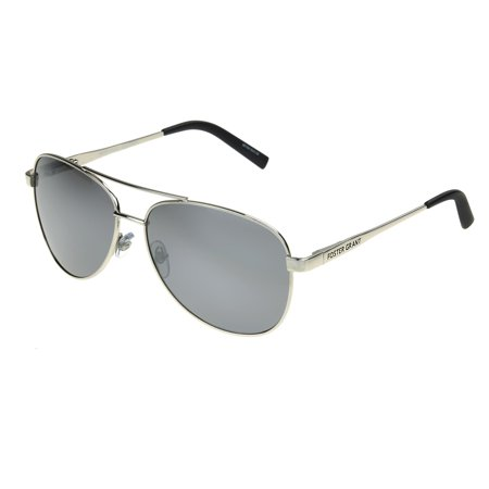 Foster Grant Men's Silver Polarized Aviator Sunglasses (Mens Small Aviator Sunglasses)