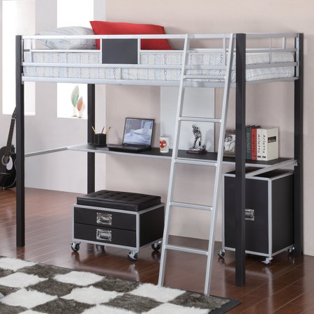 Coaster Leclair Twin Metal Loft Bed With Desk Black