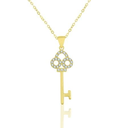 Sterling Silver 18 Karat Yellow Gold Plating Crystal Key Necklace - Gold Greek Key Necklace