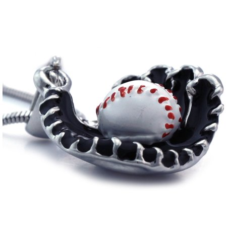 cocojewelry 3D Baseball Glove Sports Charm Player Pendant Necklace New Pierced Baseball Pendant