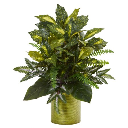 Nearly Natural Mixed Greens in Green Tin Planter Artificial Plant