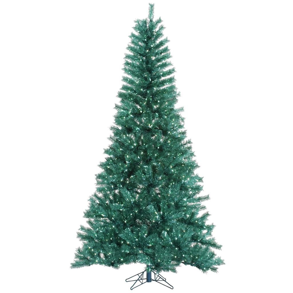 "Vickerman 329429 - 10' x 63"" Aqua Tinsel Tree 1300 Teal LED Lights Christmas Tree (A147286LED)"