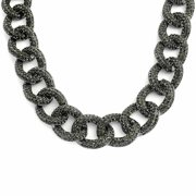 Chunky Curb Chain Statement Necklace Gun Metal Plated Brass