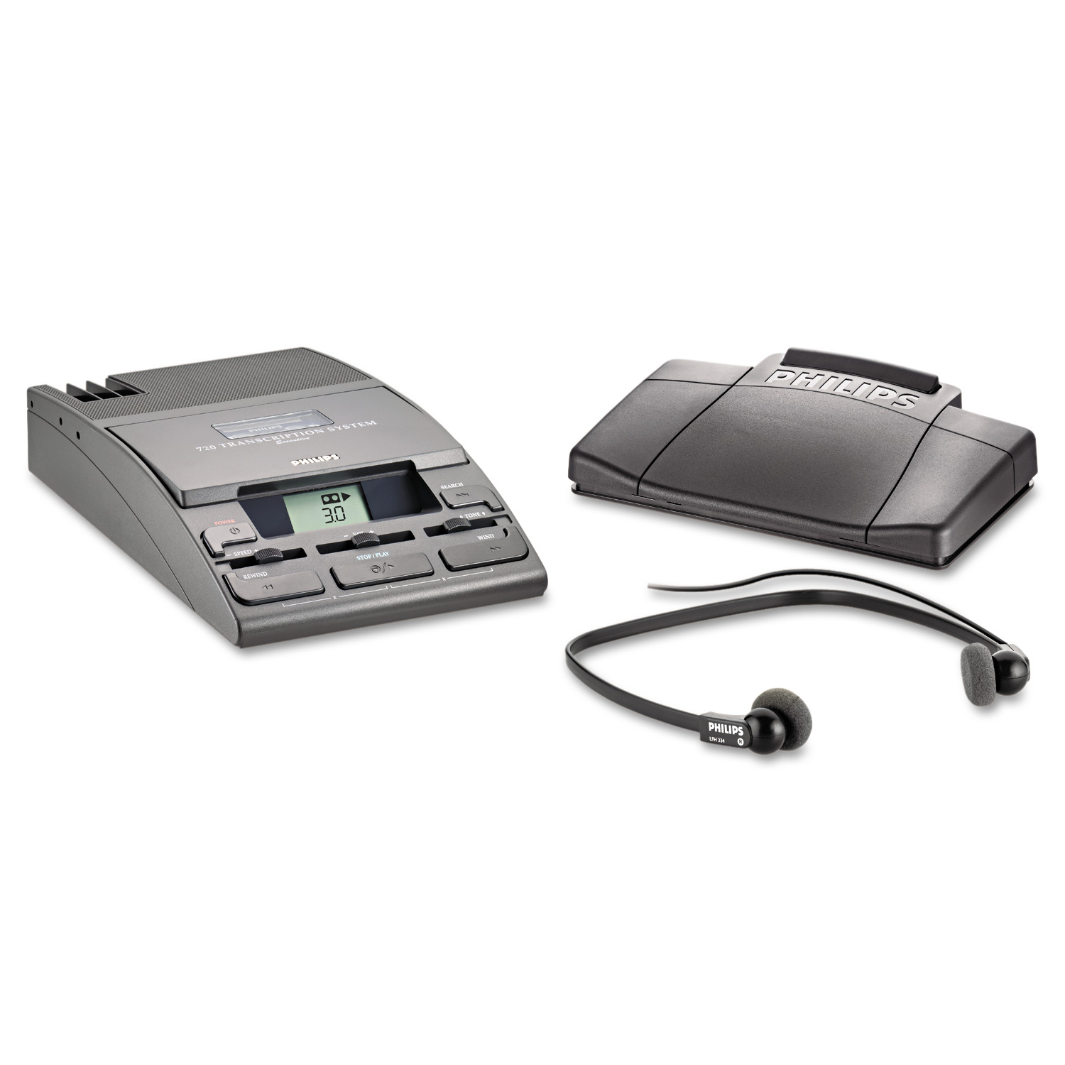 Philips 720-T Desktop Analog Mini Cassette Transcriber Dictation System w Foot Control by Philips