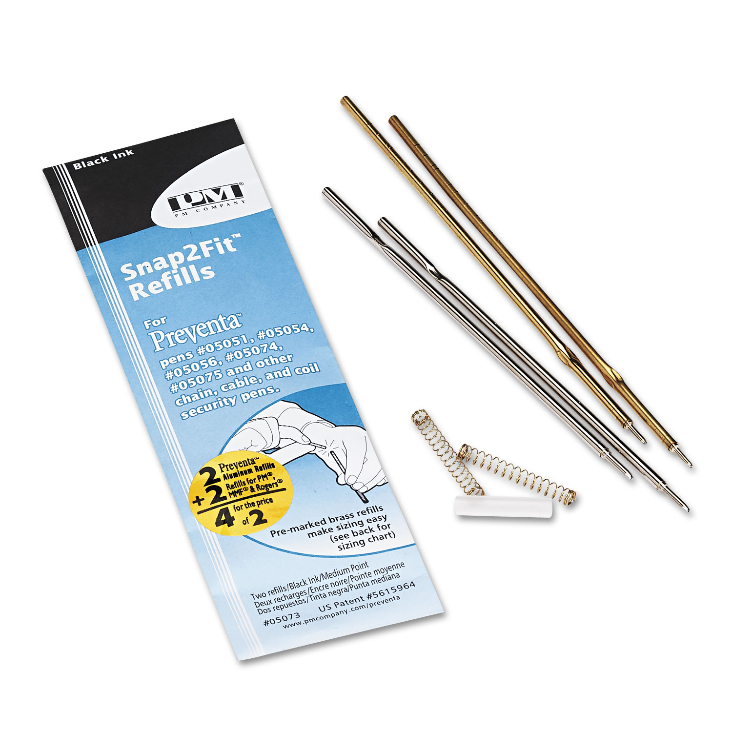 Refill for Preventa, MMF Kable & Sentry Counter Pens, Medium Pt, Black, 2/Pack