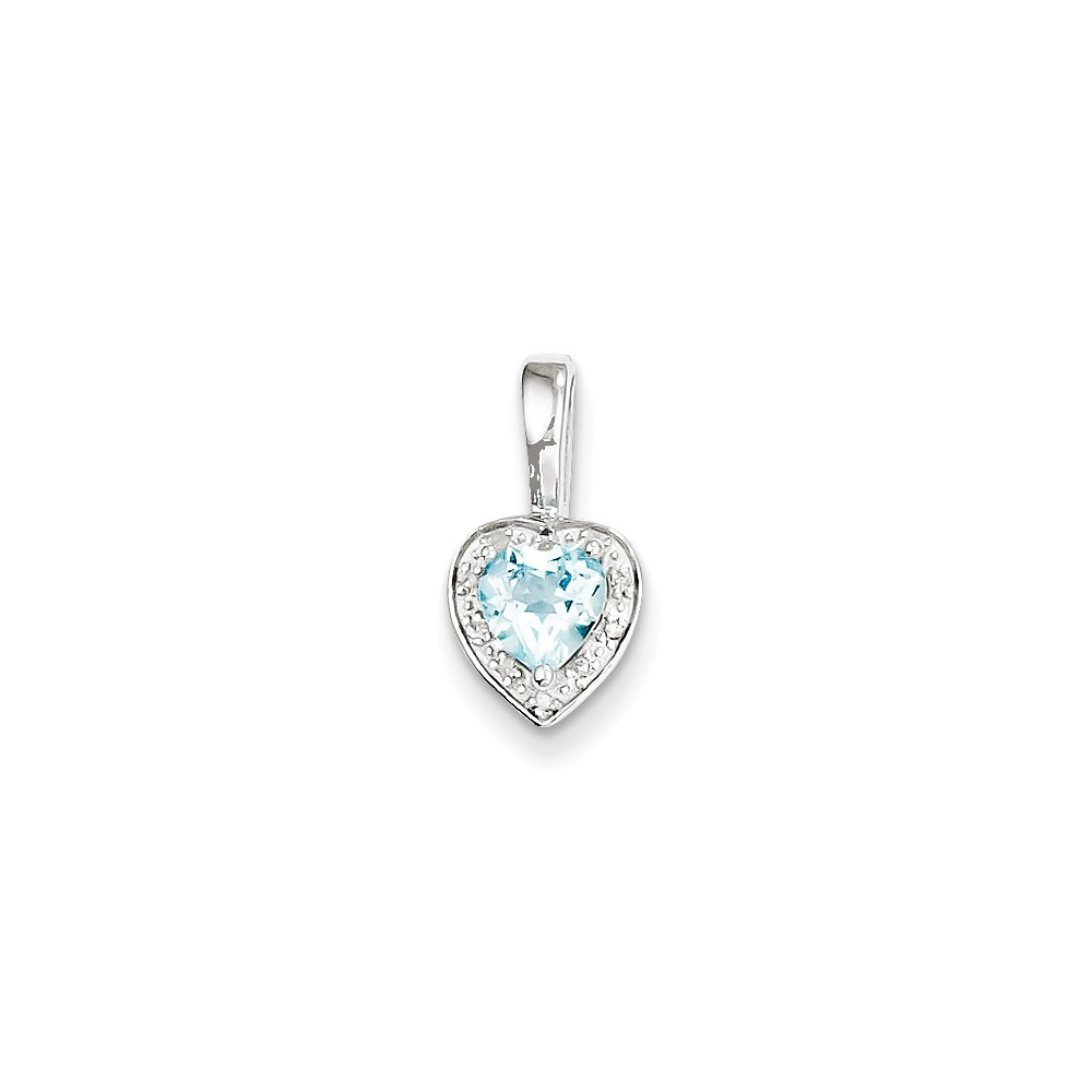 Sterling Silver Diamond Light Swiss Blue Pendant