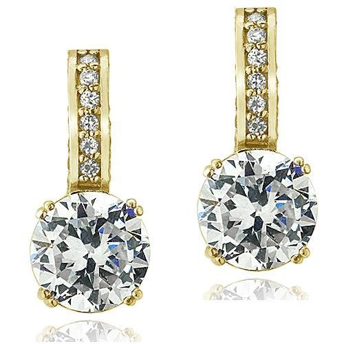 Gold over Sterling Silver 100-Facet CZ Earrings