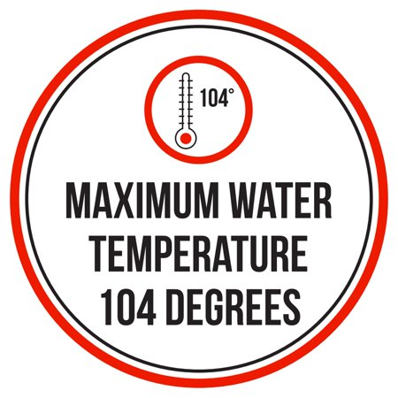Maximum Water Temperature 104 Degrees Swimming Pool Spa Warning Round Sign - 9 (Best Swimming Pool Temperature)