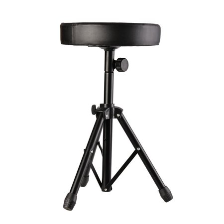 Drum Soft Padded Throne Seat Stool Stand Drummers Drumming Adjustable Chair ,Black PESTE