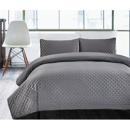 Luxury Hotel Collection 3-Piece Bedding Coverlet Set, Hotel Diamond Full Queen Size Lightweight Quilted Bedspreads, Charcoal