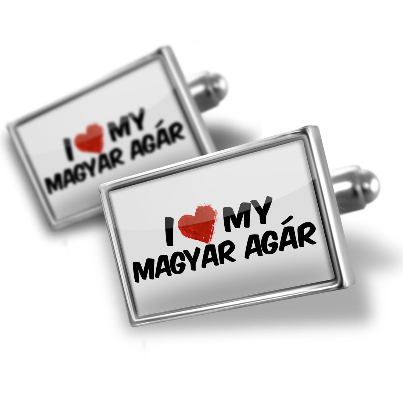 Cufflinks I Love my Magyar Agár Dog from Hungary, Transylvania - NEONBLOND