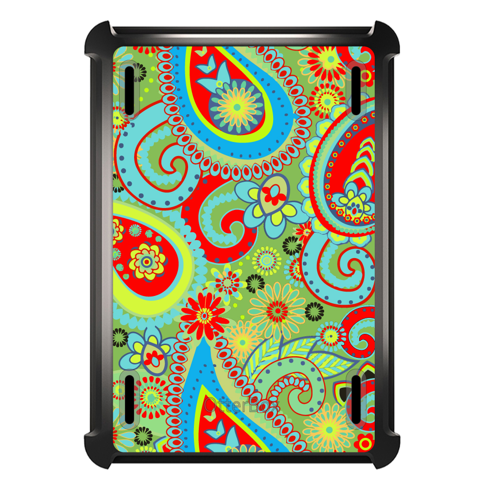 CUSTOM Black OtterBox Defender Series Case for Apple iPad Mini 1 / 2 / 3 - Green Red Blue Paisley