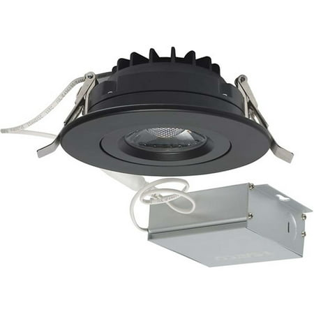4 Inch Downlight - 12 watt LED Direct Wire Downlight Gimbaled 4 inch 3000K 120 volt Dimmable Round Remote Driver Black