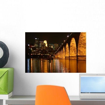 Stone Arch Bridge Minneapolis Wall Mural by Wallmonkeys Peel and Stick Graphic (18 in W x 12 in H) WM270622 (Stone Arches Mural)