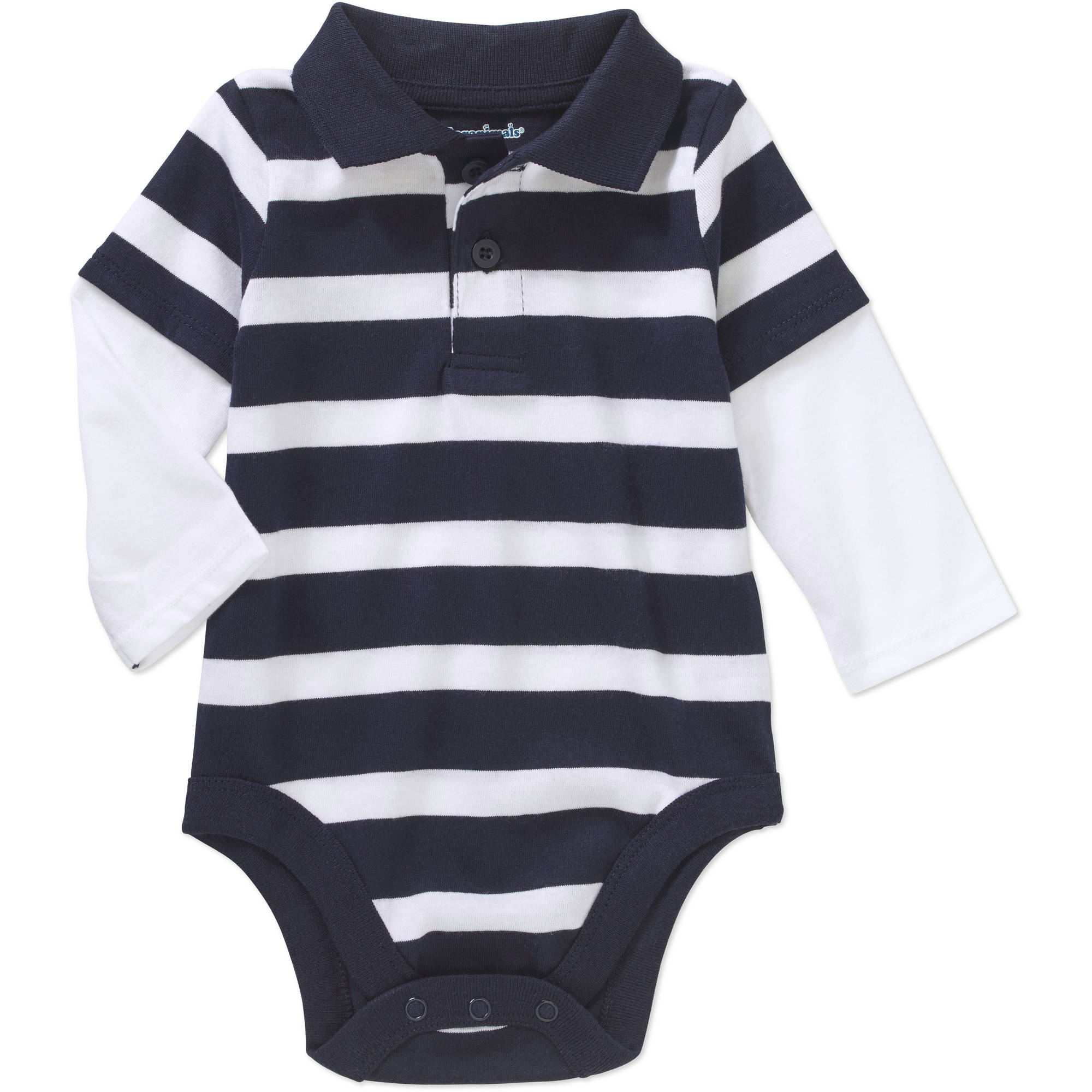 Garanimals Newborn Baby Boys' Long Sleeve Striped Hangdown Polo Bodysuit
