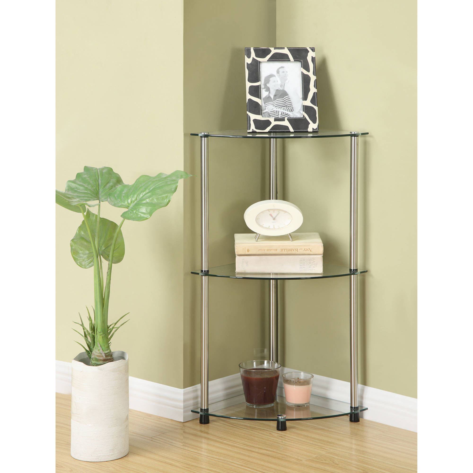 Convenience Concepts Designs2Go No Tools 3 Tier Corner Shelf ...