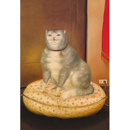 Folk art painting of a cat sitting on his pillow Poster Print by unknown](Halloween Folk Art Paintings)