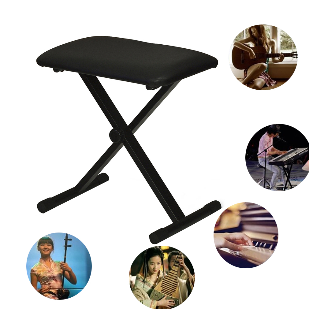 High Quality Piano Keyboard Bench Adjustable Folding Bench Black Leather Piano Seat Bench by