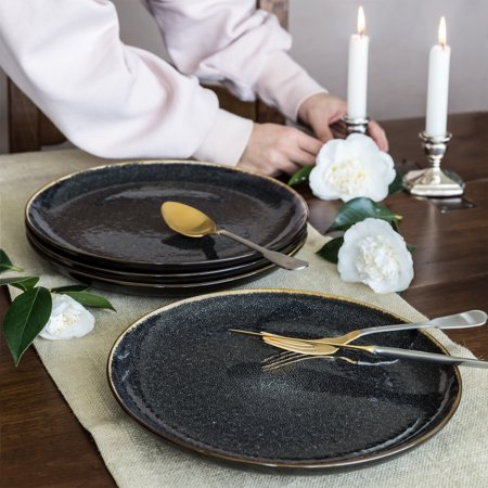 Better Homes & Gardens Burns Dinner Plates, set of 4, Black ()