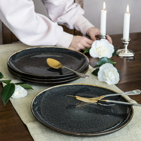 Better Homes & Gardens Burns Dinner Plates, set of 4, - Black Rim Dinner Plate