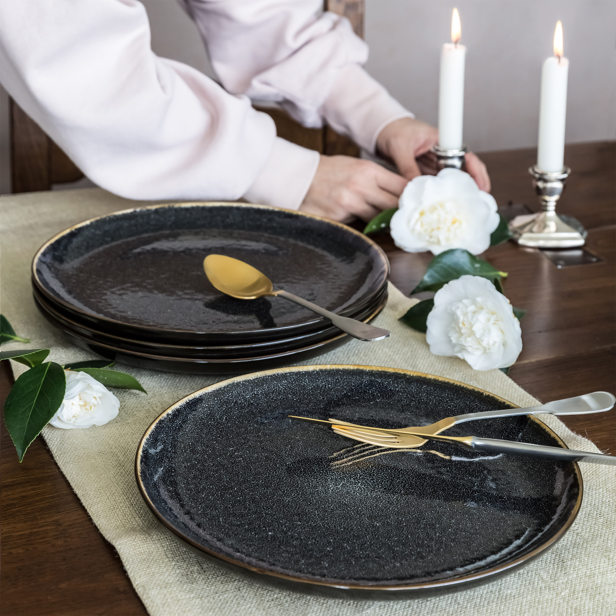 Better Homes and Gardens Burns Dinner Plates set of 4 Black & Set of 4 Heart Shaped Ceramic Plates with Embossed Sentiment ...