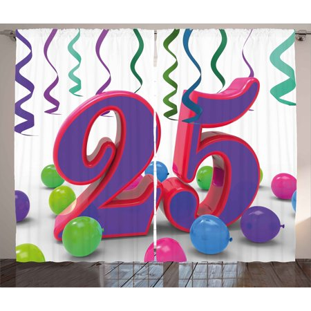 25th Birthday Decorations Curtains 2 Panels Set Party Up Colorful Ribbons And Balloons