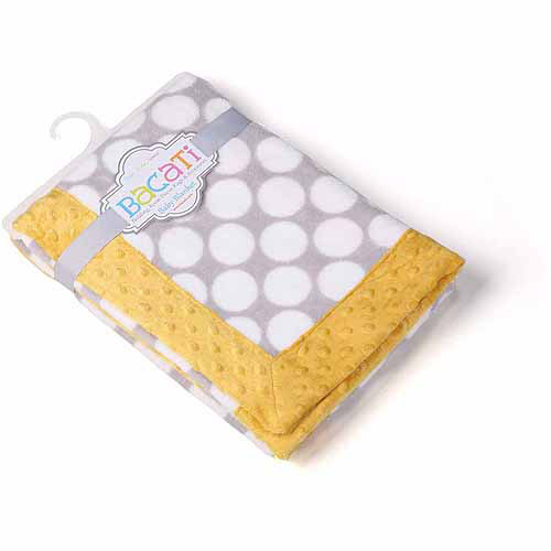 Bacati Gray Dots Center with Yellow Border 30 x 40 inches Plush Blanket, Gray Yellow by Bacati