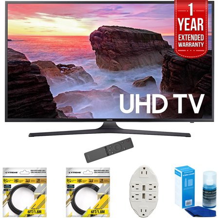 Samsung 40   4K Ultra Hd Smart Led Tv 2017 Model Un40mu6300fxza With 2X 6Ft High Speed Hdmi Cable  Transformer Tap Usb W  6 Outlet  Screen Cleaner For Led Tvs   1 Year Extended Warranty