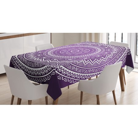 Purple Tablecloth, Ombre Mandala Art Print Bright Floral Pattern Boho Hippie Inspired Decorations, Rectangular Table Cover for Dining Room Kitchen, 52 X 70 Inches, Purple and White, by Ambesonne - Hippie Inspired Room